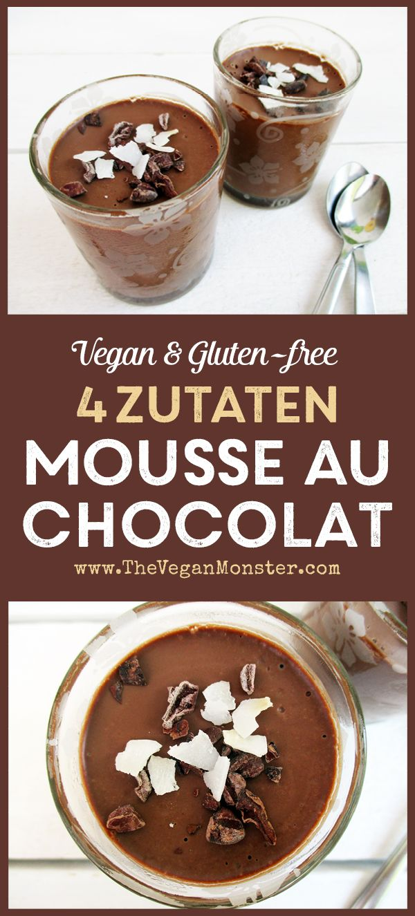 4 Zutaten Veganes Glutenfreies Milchfreies Mousse Au Chocolat ohne Ei. Entdeckt von Vegalife Rocks:  www.vegaliferocks.de ✨ I Fleischlos glücklich, fit & Gesund✨ I Follow me for more vegan inspiration  @vegaliferocks
