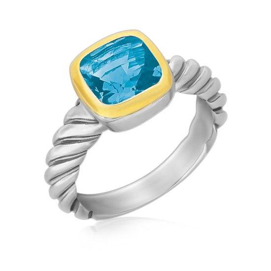 Blå Topasring med Repmönster i Silver & 18K Guld