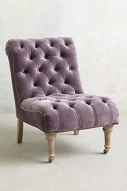 Velvet Orianna Slipper Chair Always wanted a slipper chair in my bedroom.  Maybe not this color.   #anthropologie