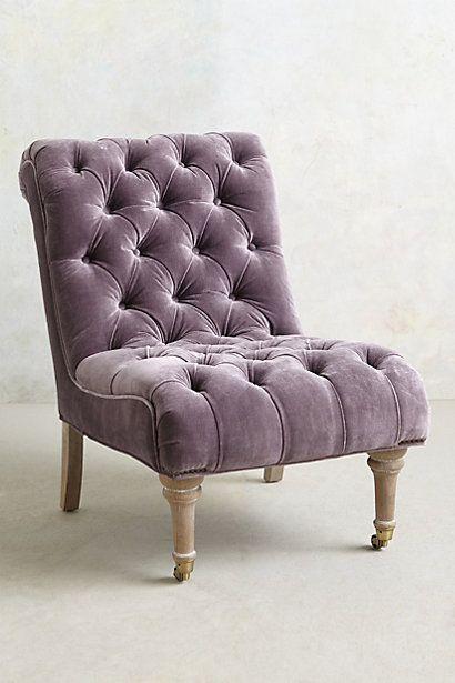 Anthropologie EU Mauve Velvet Orianna Slipper Chair £1,100