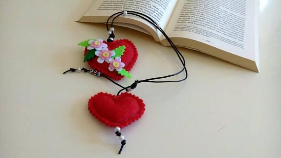 Heart bookmark Red book mark leather strap