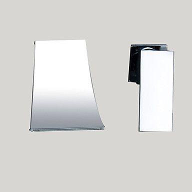 Modern Muurbevestigd Waterval with Keramische ventiel Single Handle twee gaten for Chroom Wastafelkranen