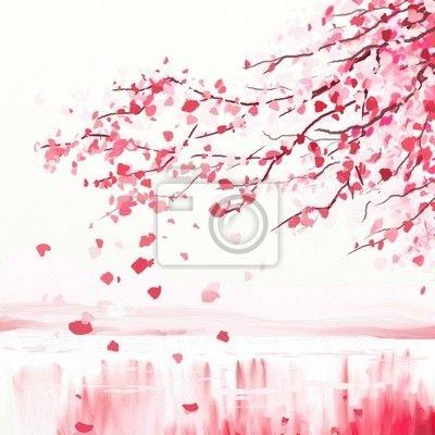 Sticker arbre cerisier japonais dessin sticker mural photos - Papier peint fleur de cerisier japonais ...