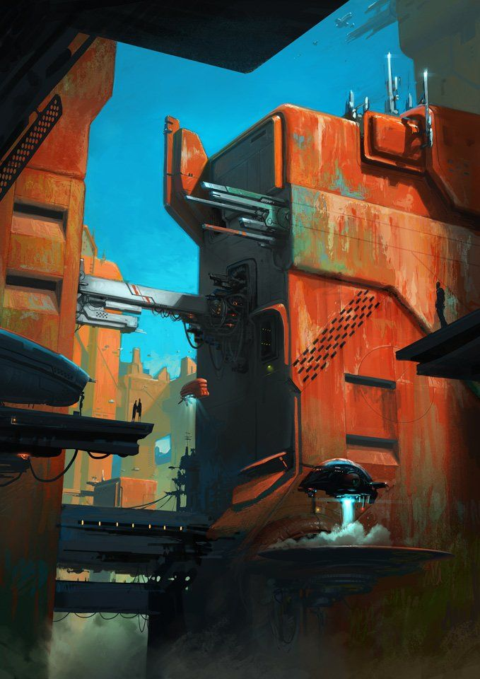 A nice sci-fi scene, which happens to use my favourite complementary colours of orange and blue