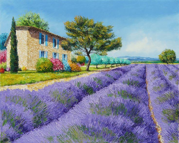 горы, кусты, деревья, поле, картина, цветы, Прованс, арт, пейзаж, лаванда, дом