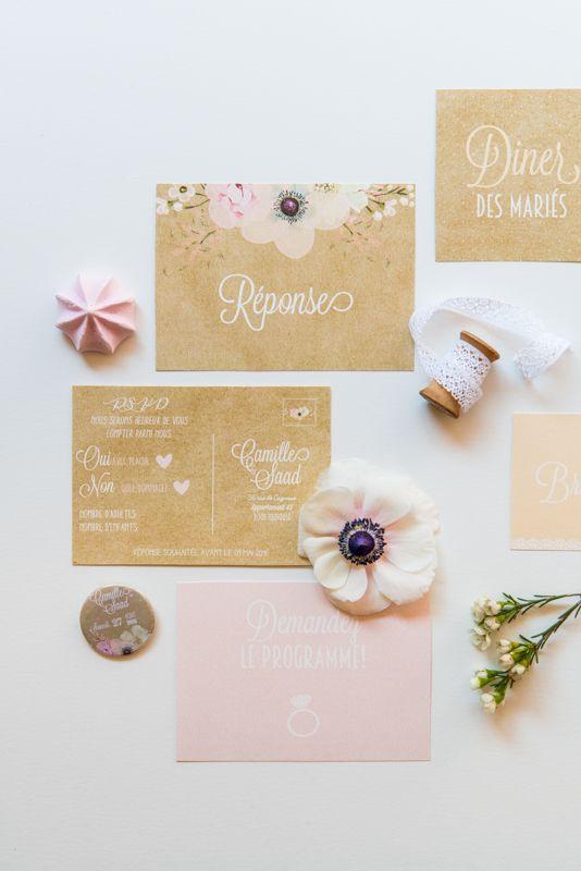 Le Grenier de Pauline - faire part - carton réponse - carton diner - badges - carton programme - mariage - wedding