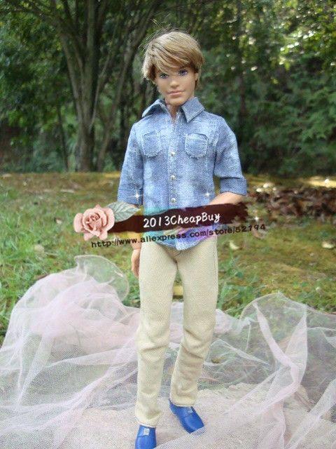 Бесплатная доставка, Девушка подарок на день рождения мода наряды джинсовая рубашка + брюки для куклы барби кеном
