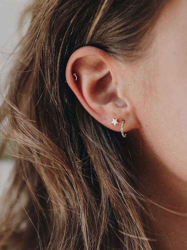 ff88901c6 Add a bright star to your ear stack with our tiny star stud earrings. These solid  gold studs are a great Christmas gift idea for every girl this year.