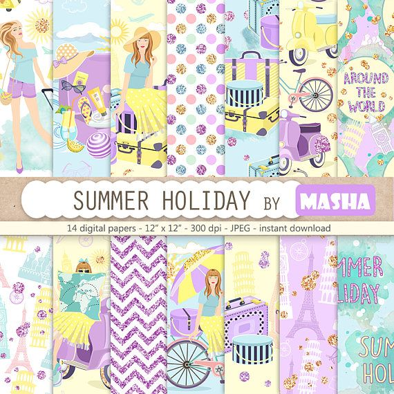 Travel girl digital papers: SUMMER HOLIDAY with #travel #girl #digital #paper #summer #pattern #holiday #bicycle #scooter #traveling #fashion #woman #girl #illustration #paris #rome #open #luggage #suitacse #background #purple #glamorous #glitter #wrapping #paper #popular #planner #planning #chevron #polkdots