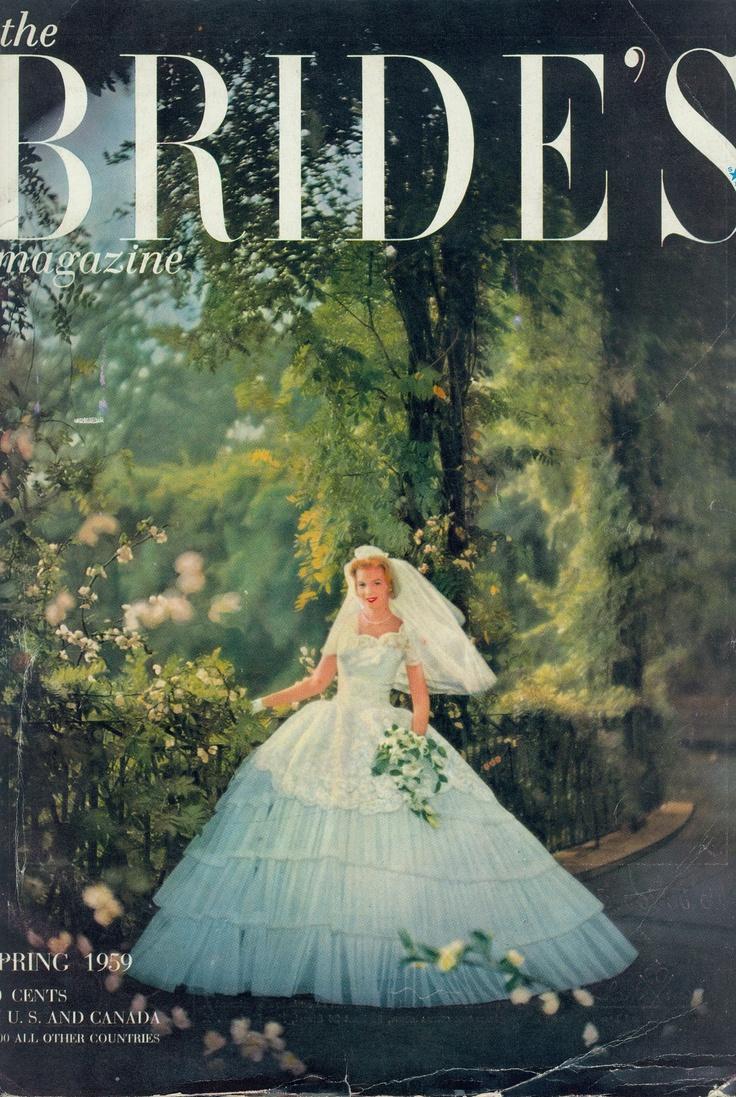 Alfred Angel on the Brides cover, Spring 1959, vintage designer fashion bride