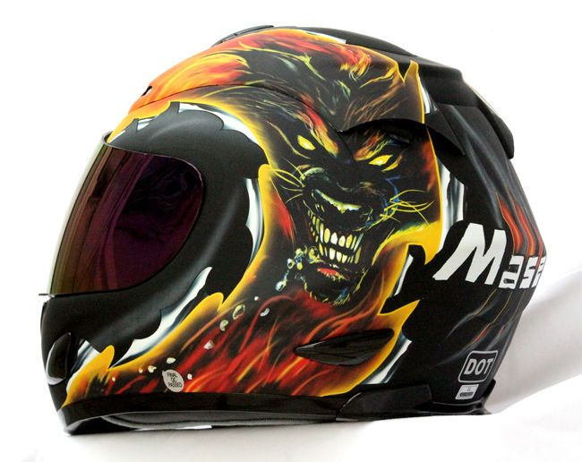 MASEI 802 DWOLF DOT MOTORCYCLE HELMET FLAT BLACK size M L XL