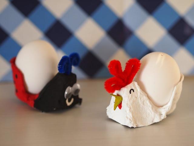 ladybug and chicken egg holders (inspired by Krokotak)