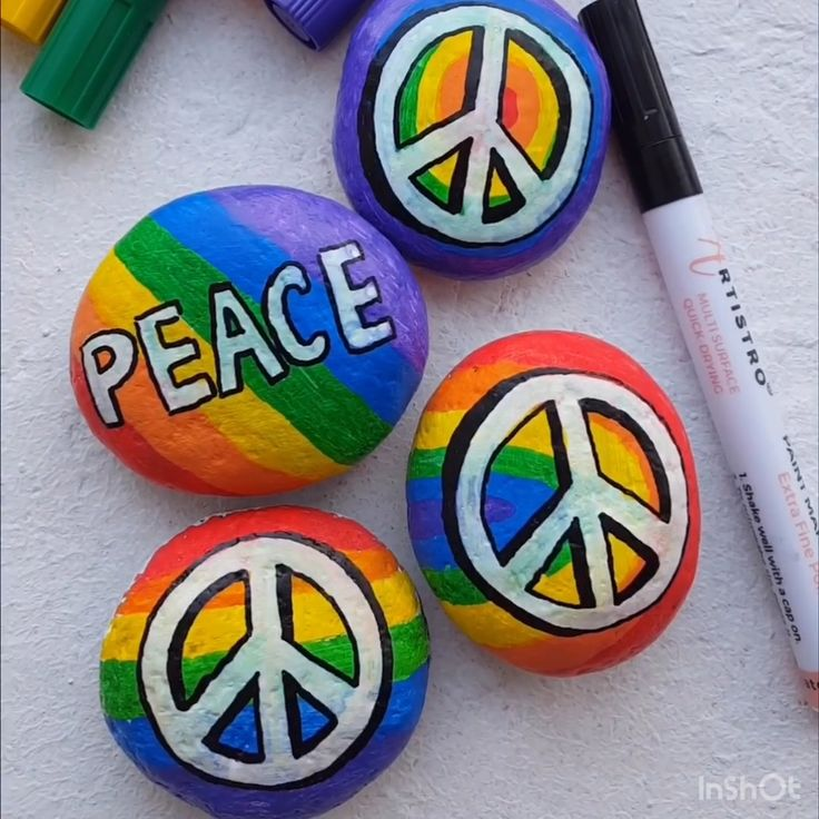 Peace Day painted rocks with Artistro