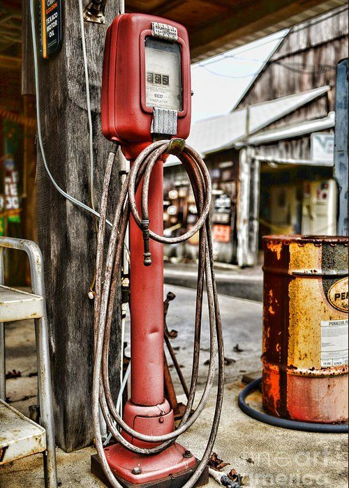 Vintage Gas Station Air Pump 3 Greeting Card for Sale by