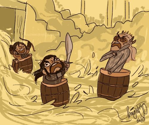 Kili's all 'woohoo!' an Thorin's like 'arrrgh!' an what's Thranduil doin in a barrel? lol