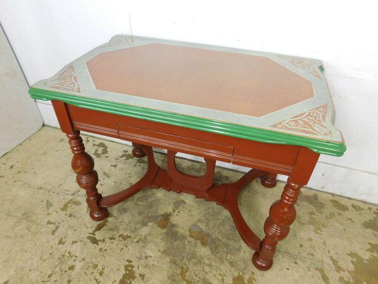 Vintage 1940s Art Deco Enamel Top Leaves Stretcher Base Drawer Kitchen Table #ArtDco   Leather ...