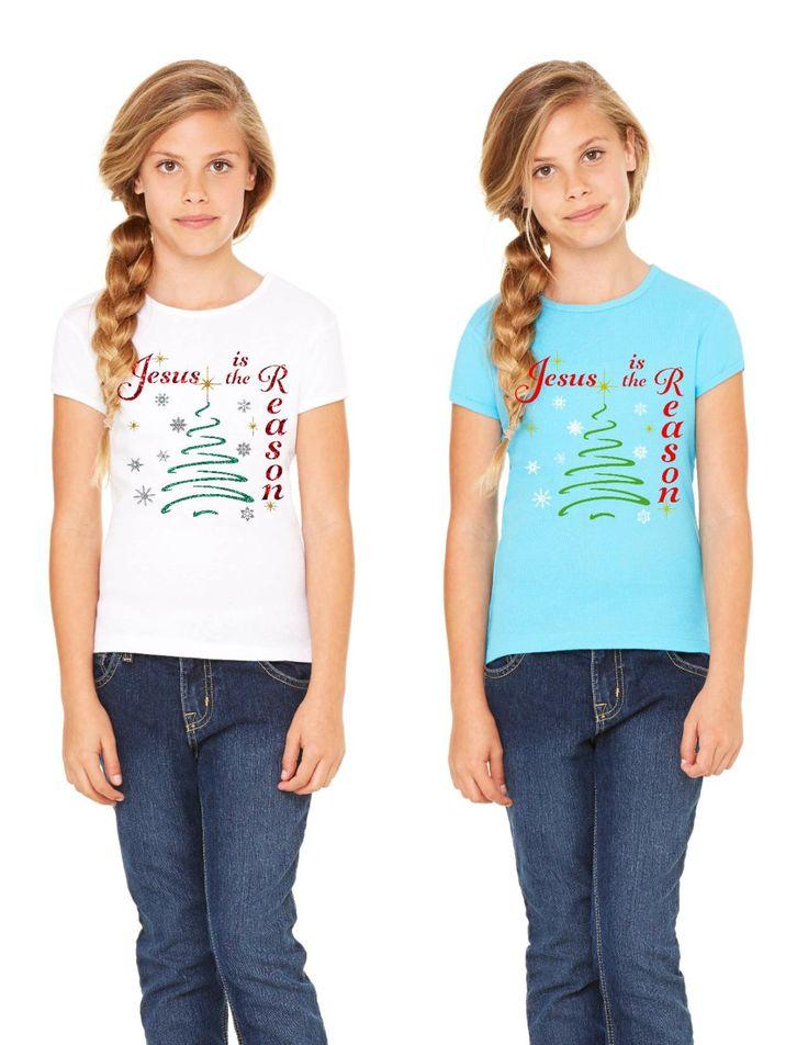 Jesus Is The Reason T Shirt, Christmas Shirt, Holiday Shirt, Girls Glitter Shirt, Bella Shirt, V Neck T Shirt by FaithOlivias on Etsy