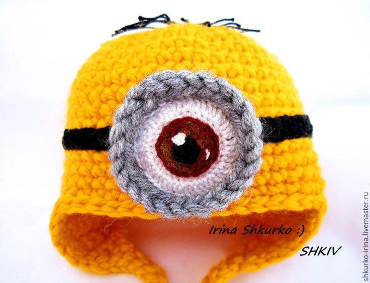 """Купить Шапка """"Миньон"""", для фотосессии. - разноцветный, детская шапочка, шапочка для фотосессии, шапочка для новорожденных"""