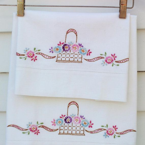 Vintage Pillowcases Embroidered Pillowcases by WhimzyThyme on Etsy