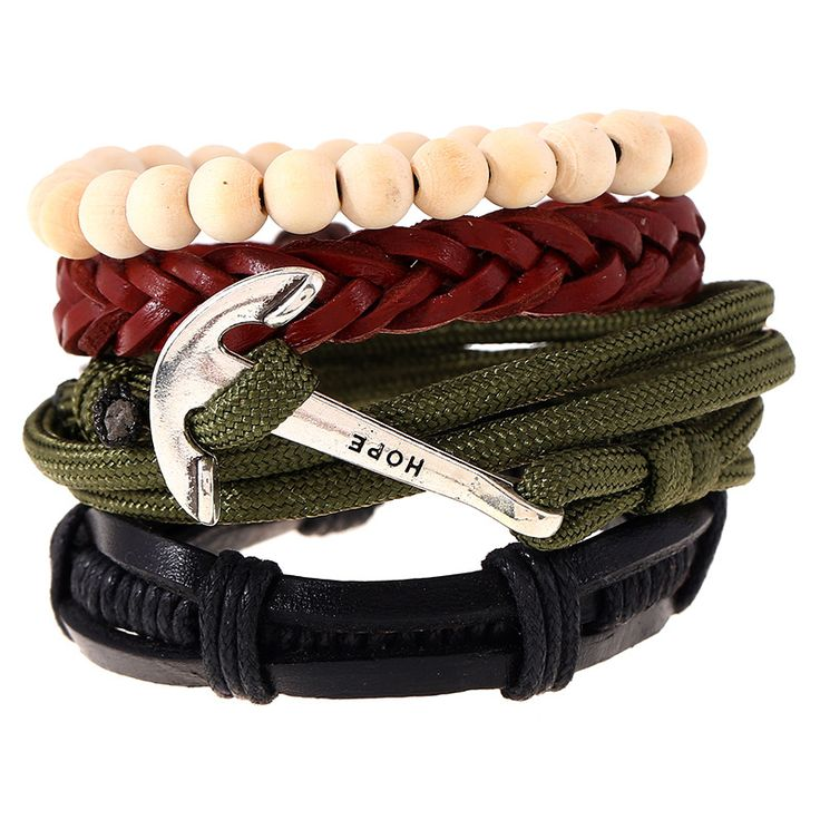 Navy Anchor Army Green Woven Rope Bracelet Men Leather Multilayer Black Brown Jewelry Accessories DIY Beads Lace-up Wrap Chain