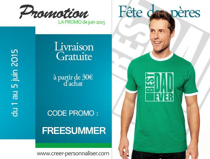 C'est le moment de penser à la fêtes des pères en offrant un cadeau personnalisé à votre papa.  un tee shirt, un tablier pour les barbecues de cet été  ou plus simplement un mug pour son café du matin. Des idées cadeaux simples pour lui montrer combien  vous l'aimez. Livraison gratuite pour 30€ d'achats Du 1 au 5 juin 2015 Code promo :  FREESUMMER  Tee shirt personnalisé :  www.creer-personnaliser.com/Creer-tee-shirt-homme-personnal… Tablier personnalisé…