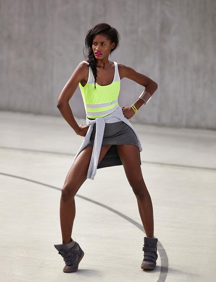 Shape Up Skirt, Hilight Wedge Sneaker in Gray - bodysuit & sweatshirt coming soon!