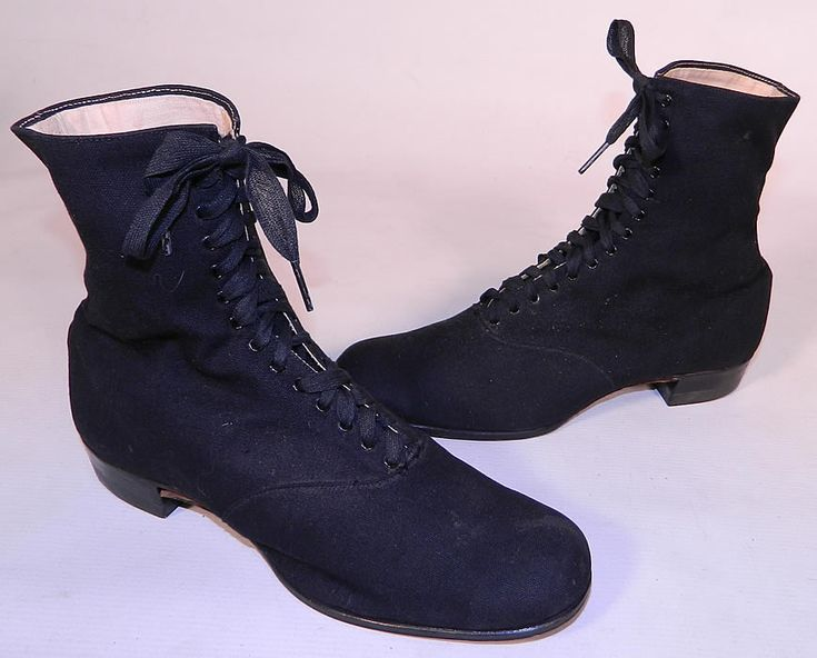 Victorian Era Shoes | Victorian Womens Black Cotton Canvas ...