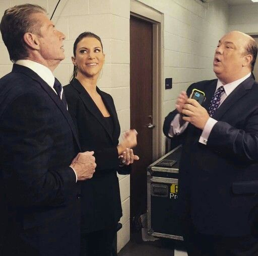 Mr. Vincent McMahon with his daughter Stephanie McMahon & Paul Heyman backstage