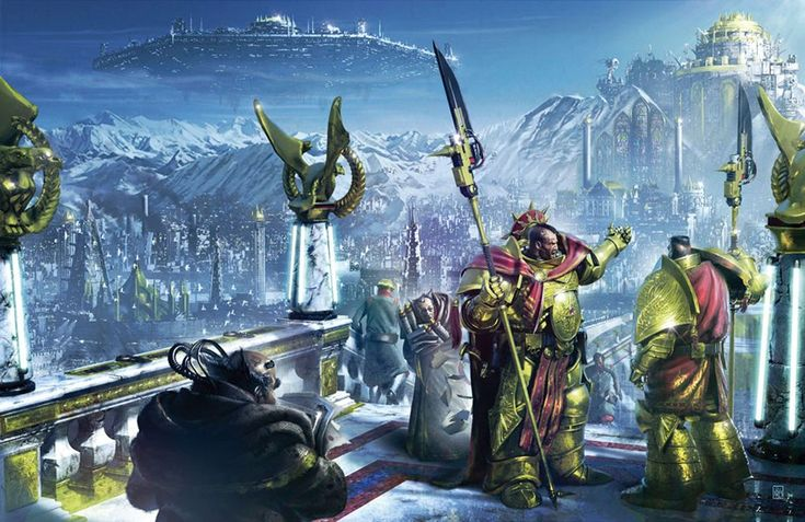 """ponders-of-a-necron-overlord:   The Imperial Truth Horus HeresyAnthology Cover Illustration   This is gorgeous! Imperial palace for certain. I wanna hear the dialog between the two custodes! """"What do you mean we should have turned left ten minutes ago!?"""""""