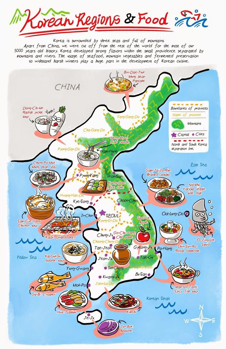 Korean regions and food from Banchan in Two Page: Korean cooking comics by Robin Ha. Food Illustration, Korean Food, Korean recipe, Cook Korean! http://banchancomic.tumblr.com/