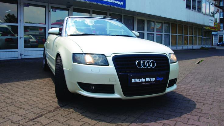 Audi A4 B6 Cabrio 3M Satin Pearl White Oklejanie Samochodów Katowice www.silesiawrap.pl
