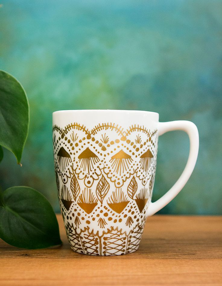 DIY: gold paint mug makeover