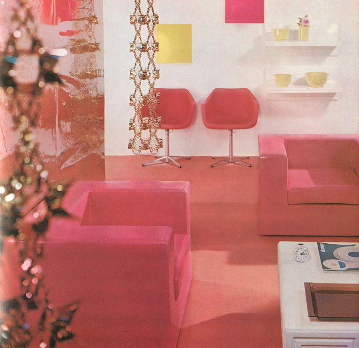 """thegroovyarchives:  """"70′s Olive Sullivan-designed living room  From Modern Furniture and Decoration; edited by Robert Harling; Galahad Books, 1971.  """""""