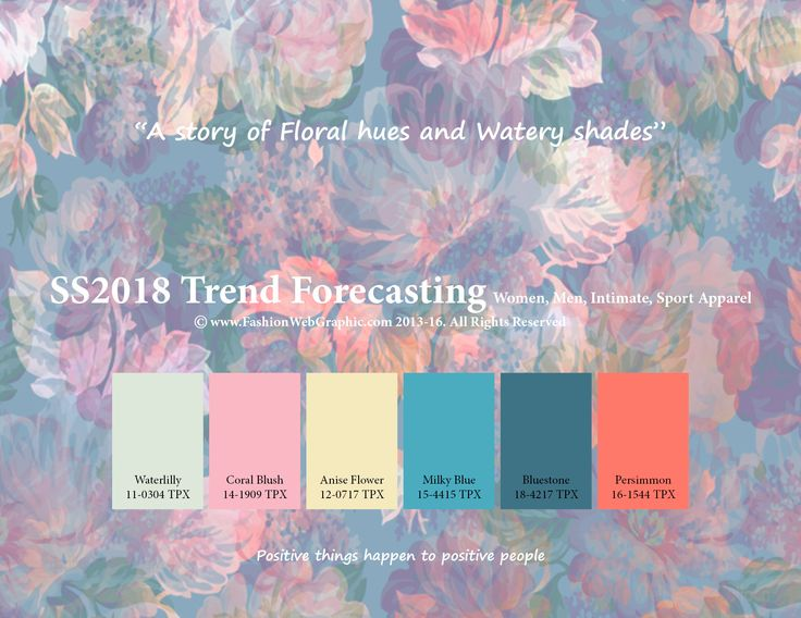 SpringSummer 2018 Fashion Trend Forecasting for Women, Men, Intimate, Sport Apparel - A story of Floral hues and Watery shades.. www.JudithNg.com