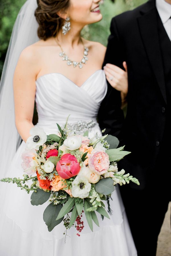Coral Peony and Anemone Summer Bouquet | Honey Gem Creative | http://heyweddinglady.com/preppy-southern-chic-summer-wedding-shoot/
