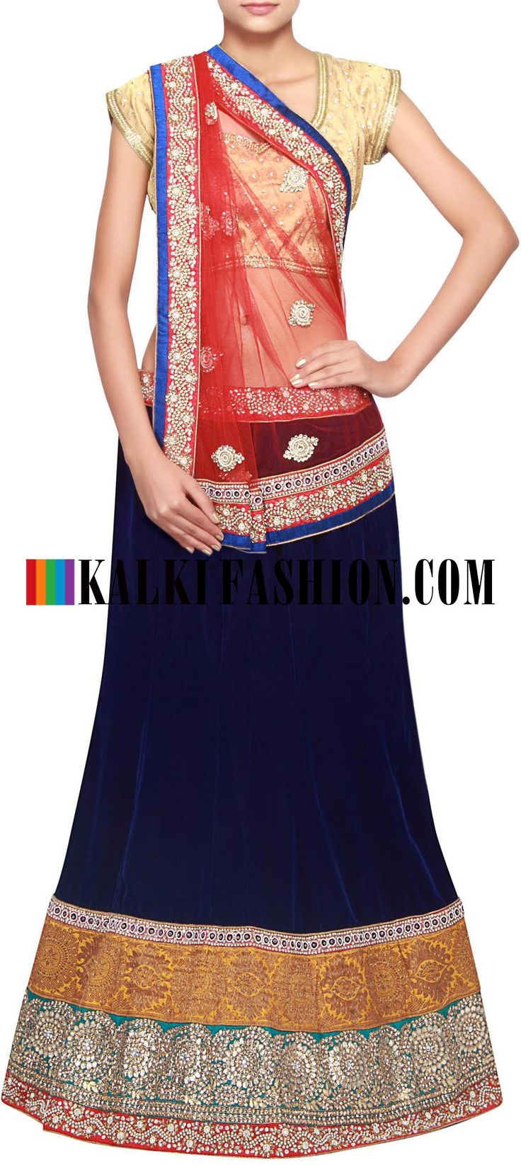 Get this beautiful lehenga here: http://www.kalkifashion.com/navy-blue-lehenga-embellished-in-kundan-embroidery-only-on-kalki.html Free shipping worldwide.