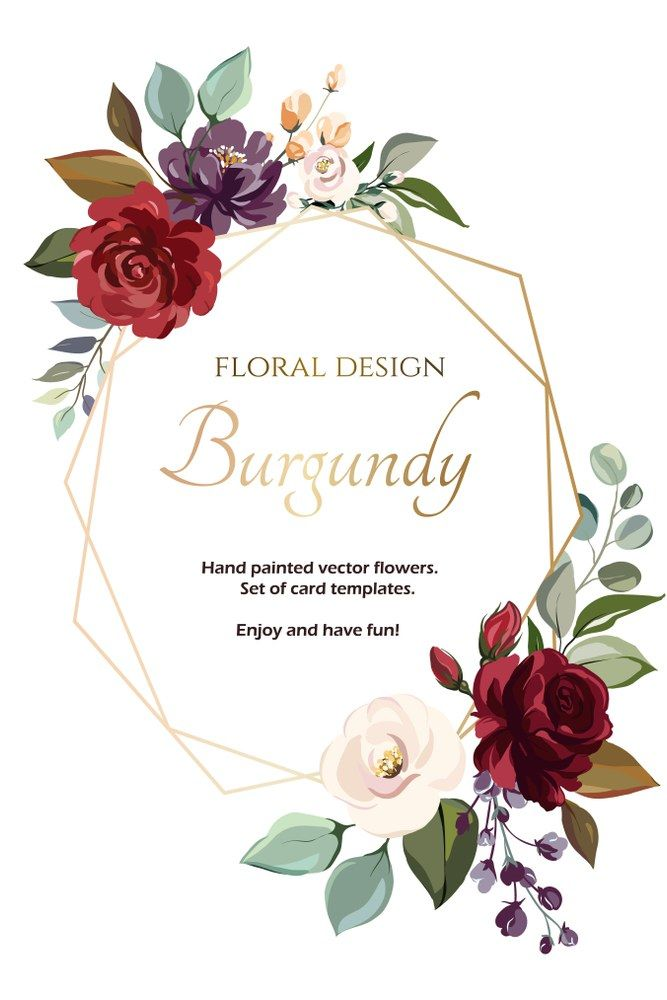 Card With Flower Rose Leaves Wedding Ornament Concept Floral Poster Invite Vector Decorative Greeting Wedding Ornament Wedding Invitations Floral Wedding