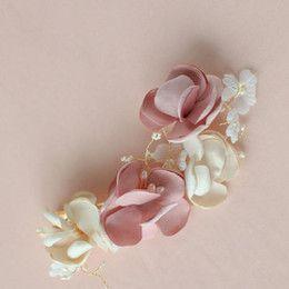 Wholesale Romantic Silk Flower Hair Accessories For Brides No fading Bridal Accessories Wedding Headpiece for Brides Fascinator Pink Ivory Women Tiara
