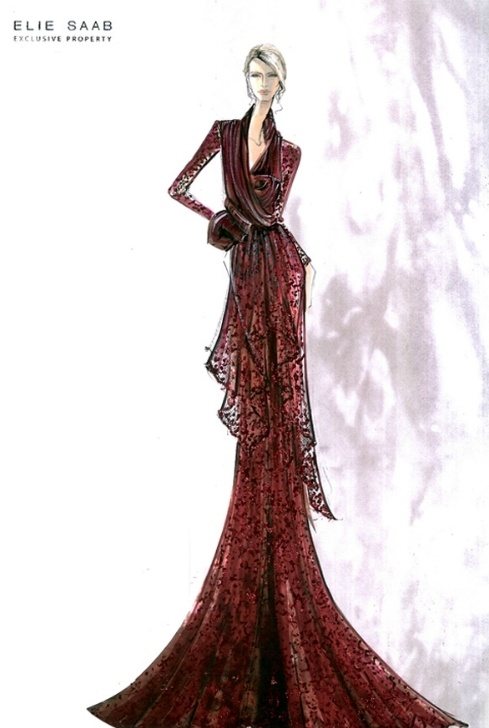 Croquis de moda - Elie Saab fashion sketches