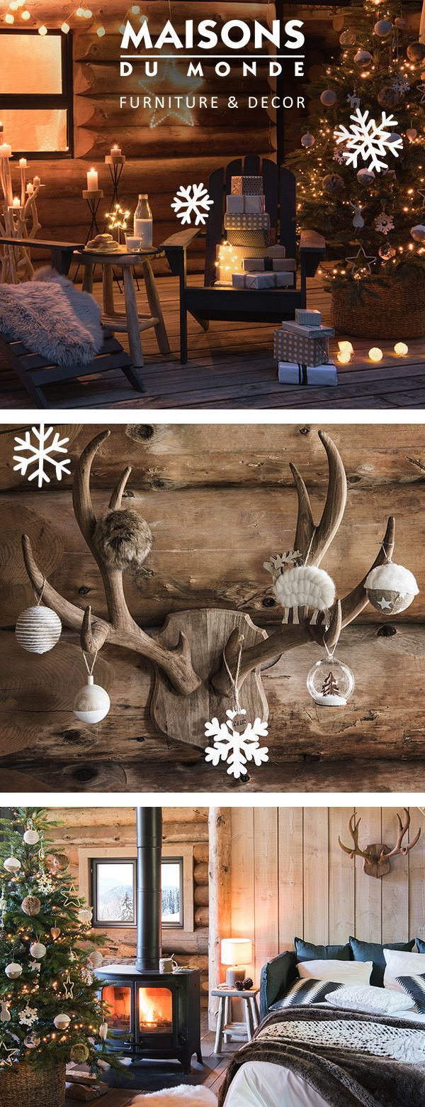 It's beginning to feel a lot like Christmas... Create a rustic, warm and cosy festive home with the Chalet Christmas look. Hit new heights this Christmas and head for the mountains. Embrace Nordic neutrals and faux fur layers to create the perfect 'hygge' festive home to warm up in. Rustic, calm and full of charm - it's time to grab your skis | Maisons du Monde