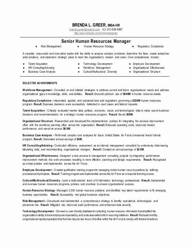 Human Resources Manager Resume Sample Elegant Senior Human Resources Manager Resume In 2020 Manager Resume Hr Resume Job Resume Samples