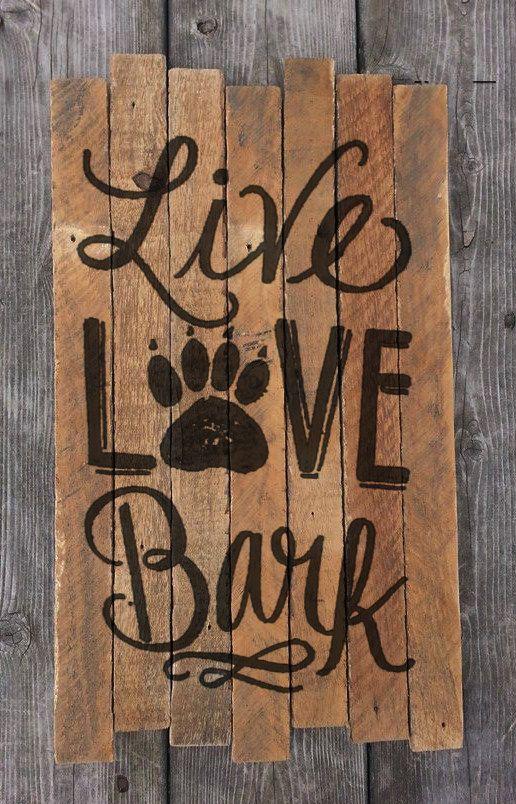 Peace Love Bark Reclaimed Wood Art Dog Animal by MookieWoodArt