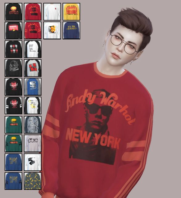 Sims 4 CC's - The Best: ANDY WARHOL | KK's Sweatshirt Recolors by Alianna