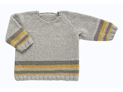 Avec ces coloris tout doux d\'automne, ce pull est simplement souligné de quelques rayures contrastées. Ce modèle tout simple présenté dans le n° de septembre 2010 d\'Enfant Magazine est tricoté en jersey endroit et en côtes 2/2 pour les bordures.