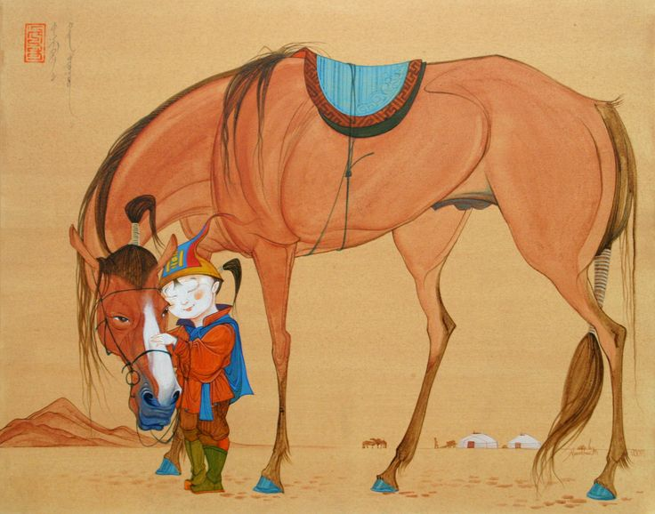'MARE WITH PIEBALD FOAL' poster and water color,2004