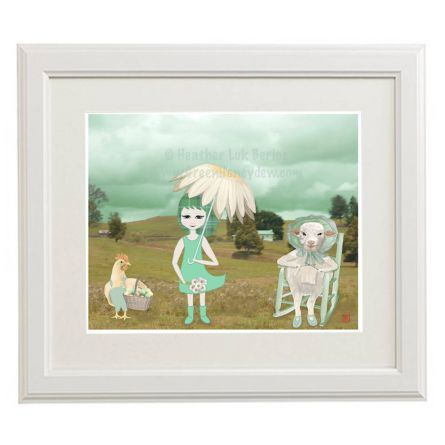 Art :: Visual Art :: Spring Meadow - 8x10 Art Print - Teal Girl Daisy Umbrella Hen Lamb Knitting Whimsical Cute