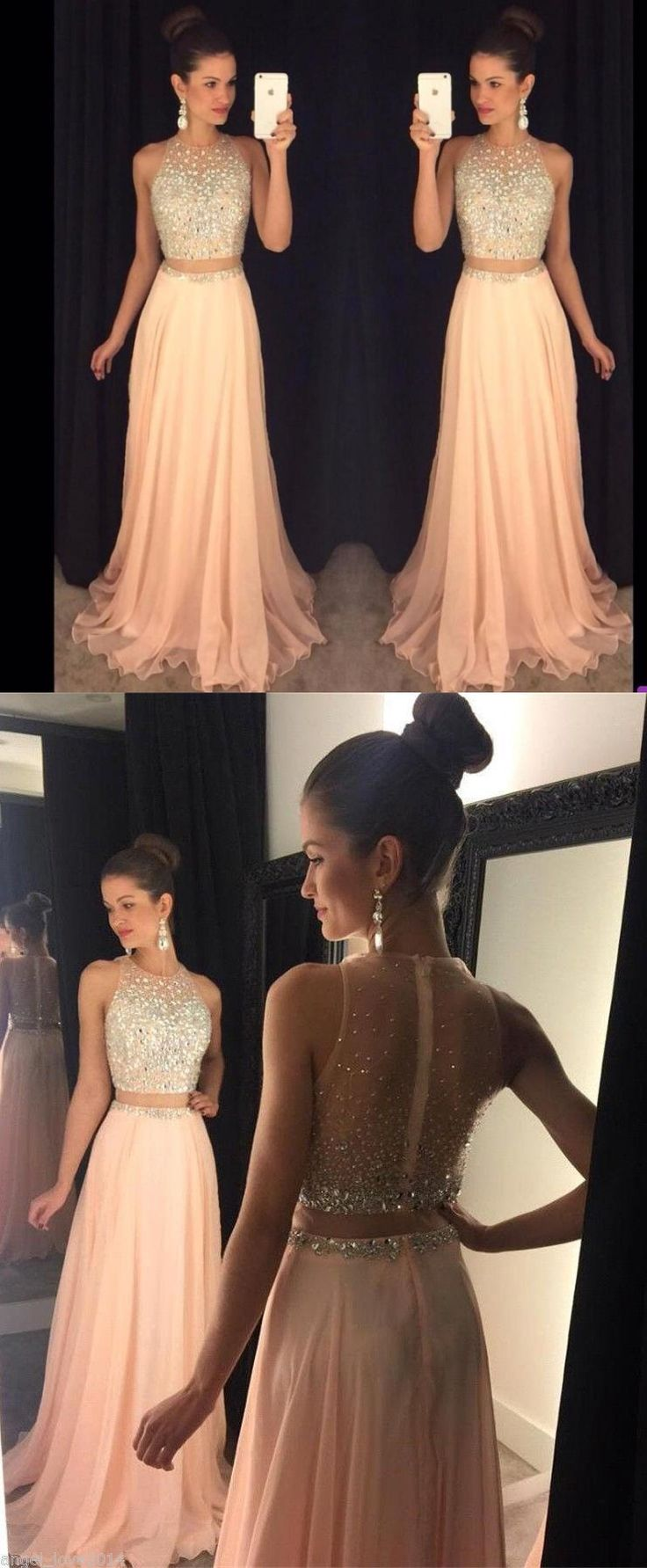 2017 two piece long peach prom dress