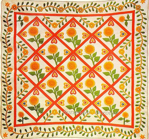 Pieced & Applique Quilt Sunflowers &cDouble Hearts 1865 New England | Flickr - Photo Sharing!