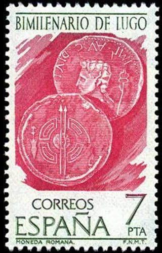 Sello: Bimillenary of Lugo. Roman coins (España) (Villages) Mi:ES 2251,Sn:ES 1997,Yt:ES 2004,AFA:ES 2351,Edi:ES 2358