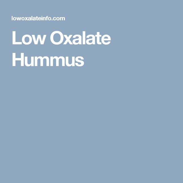 Low Oxalate Hummus
